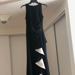 Calvin Klein Women's Contrast Ruffle High-Low Gown